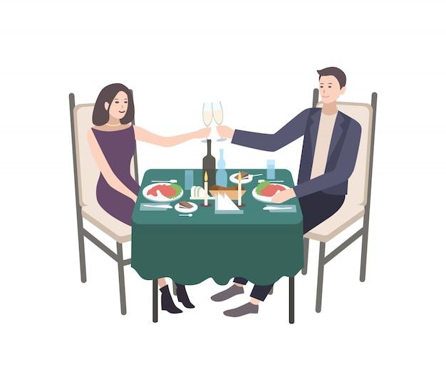 Paar jonge man en vrouw gekleed in formele kleding