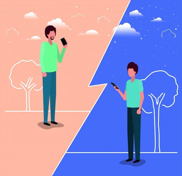 Paar jonge mannen met behulp van smartphone