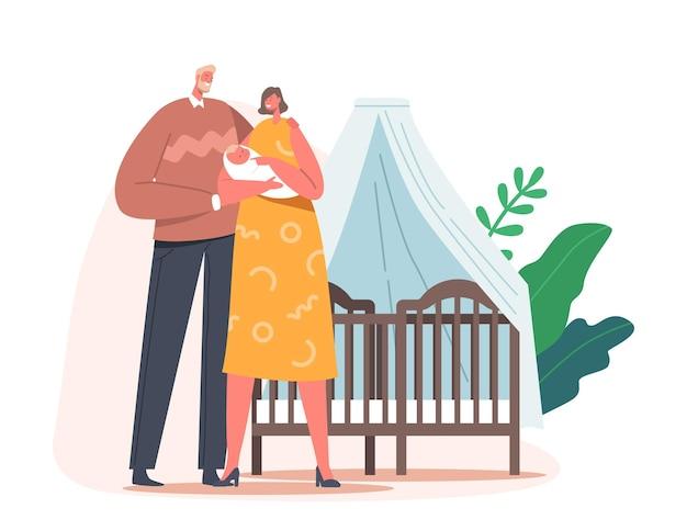 Paar jonge ouders met pasgeboren baby op handen in de buurt van bed met luifel, vader en moeder zorg voor kind, moederschap, vaderschap, ouderschap, liefde en liefdevolle relaties. cartoon vectorillustratie