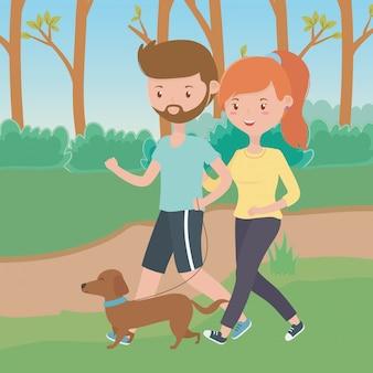 Paar jongen en meisje met hond