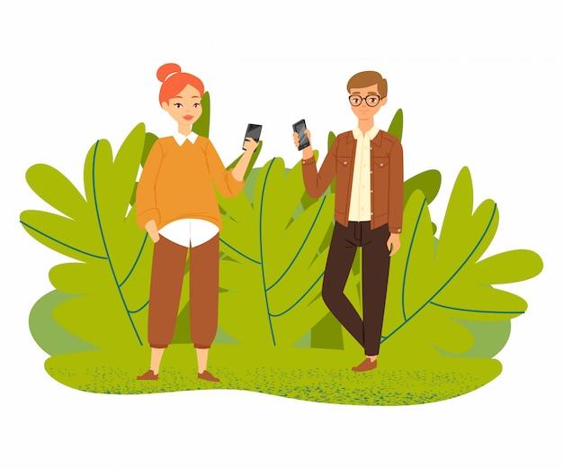 Paar jongeren met smartphonesgadgets, man en vrouwenkarakters met mobiele telefoon die op witte illustratie wordt geïsoleerd.