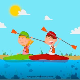 Paar kanoën
