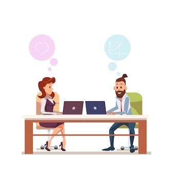 Paar kantoormedewerker zitten op werkplek met laptop