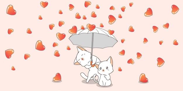 Paar kat karakter houden paraplu met harten in valentijnsdag
