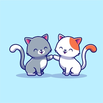 Paar kat stripfiguur. dierlijke liefde geïsoleerd.