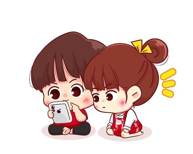 Paar kijken naar de smartphone, cartoon karakter illustratie