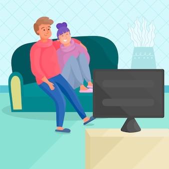 Paar kijken samen naar een film