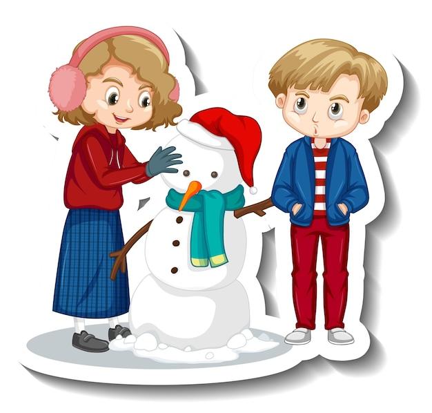 Paar kinderen bouwen sneeuwpop stripfiguur sticker
