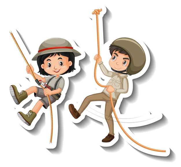 Paar kinderen hangen aan touw stripfiguur sticker