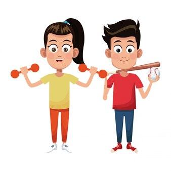 Paar kinderen sport gewicht honkbal