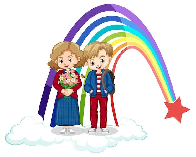 Paar kinderen staan op de wolk met regenboog