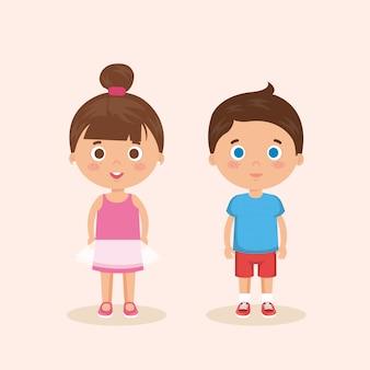 Paar kleine kinderen karakters