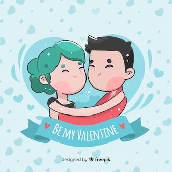Paar knuffel valentijnsdag achtergrond