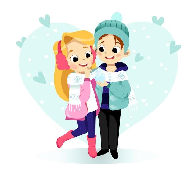 Paar knuffelt en de jongen toont ijshart aan het meisje