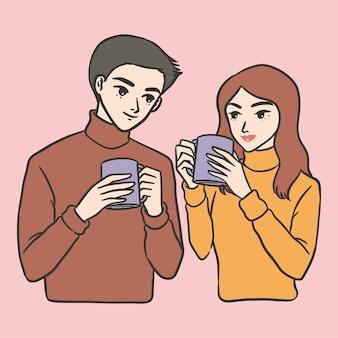 Paar koffie datum schattig eenvoudige illustratie