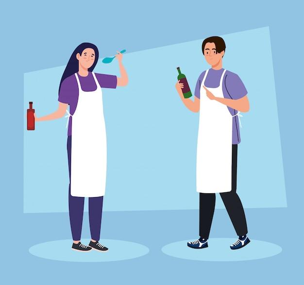 Paar koken met behulp van schort, op blauwe achtergrond