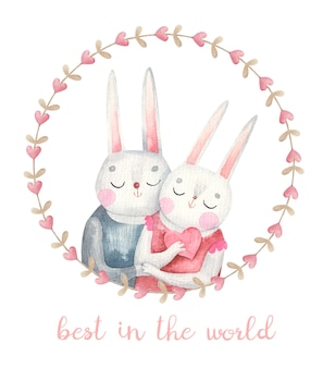 Paar konijnen verliefd in een ronde frame, schattige valentijnsdag kaart, aquarel