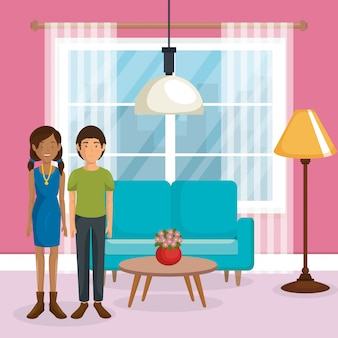 Paar liefhebbers in de woonkamer