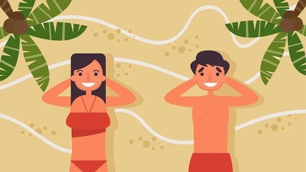 Paar liggend op het zand op het strand hobby's activiteiten minnaars stellen doorbrengen zomer, vakantie, tijd met geliefden geluk geen plaats zoals thuisconcept, kleurrijke illustratie in flat.