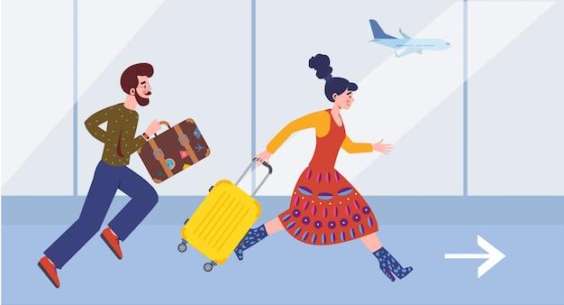 Paar loopt naar vlucht bij luchthaventerminal. gelukkige toeristen met haast op zomervakantie. tijd plannen voordat u op reis gaat.
