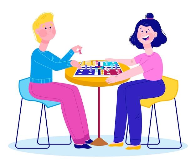 Paar ludo spel spelen