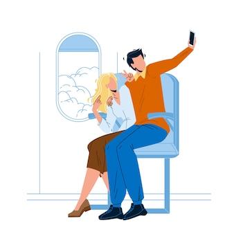 Paar maken vlucht selfie op telefooncamera
