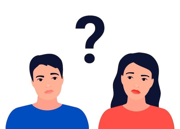 Paar man en vrouw met vraag