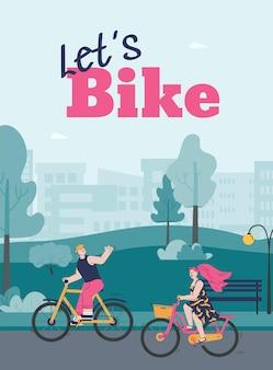 Paar man en vrouw rijden fiets