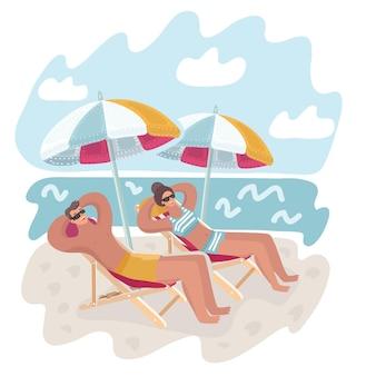 Paar man en vrouw rusten op het strand
