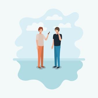 Paar mannen die smartphone gebruiken