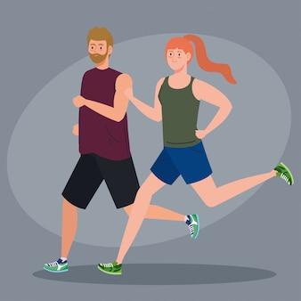 Paar marathonloper sportief lopen, man en vrouw lopen competitie of marathon race poster, gezonde levensstijl en sport