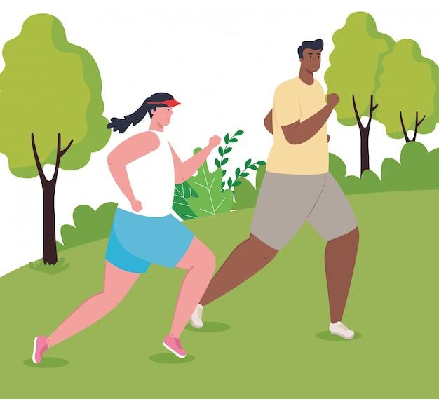 Paar marathonlopers lopen in park, vrouw en man lopen competitie of marathon race poster, gezonde levensstijl en sport