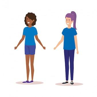 Paar meisjes avatars karakters