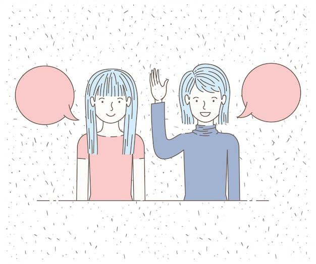 Paar meisjes praten met tekstballonnen