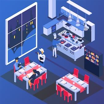 Paar mensen in restaurant aan tafel, romantisch diner illustratie. man vrouw karakter drinken en eten, isometrische liefde