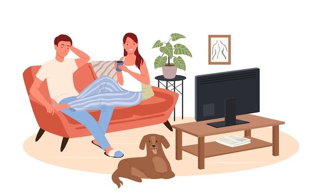 Paar mensen kijken thuis tv-film. cartoon gelukkige jonge vrouw man tekens kijken naar bioscoopfilm