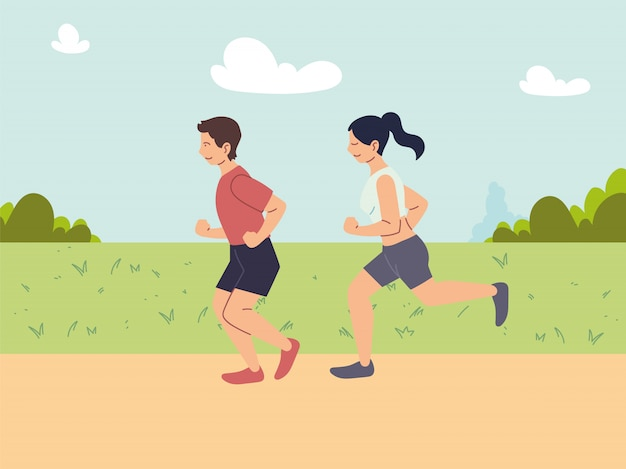 Paar mensen rennen of joggen, buitenactiviteiten