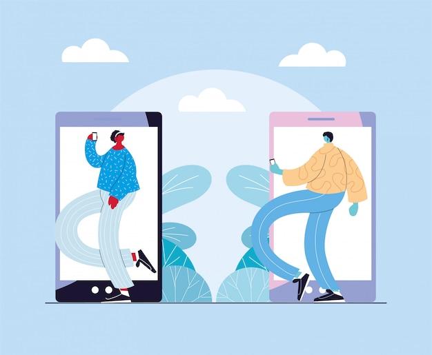 Paar mensen staan voor de smartphone