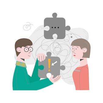 Paar, mensen, team zijn probleemoplossend, op zoek naar een oplossing voor de taak. concept vectorillustratie met puzzels, hersenkraker