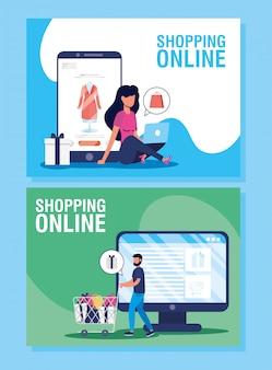Paar met behulp van online winkelen tech in dasktop en smartphone