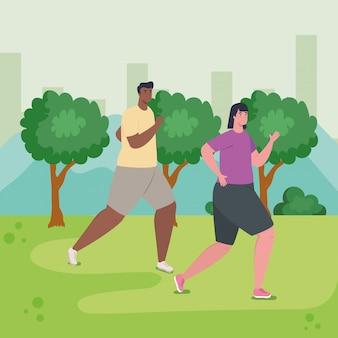 Paar met outdoor, vrouw en man in sportkleding joggen in het park