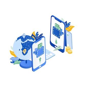 Paar moderne mobiele telefoons, globe, vliegend papieren vliegtuigje. veilige en snelle internationale dienst voor directe geldoverdracht, visualisatie van elektronisch bankieren. trendy kleurrijke isometrische vectorillustratie.