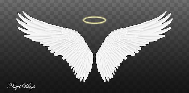 Paar mooie witte engelenvleugels geïsoleerd op transparante achtergrond.