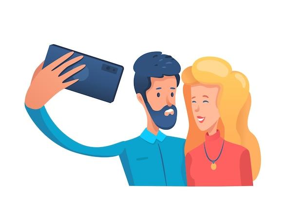 Paar nemen foto selfie