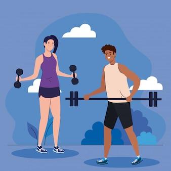 Paar oefenen oefening buiten, sport recreatie concept