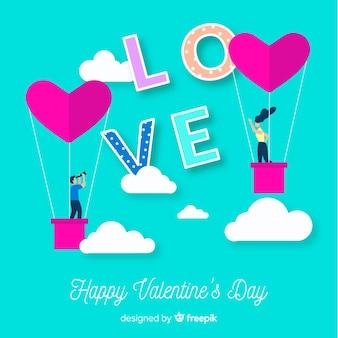 Paar op hete lucht ballonnen valentine achtergrond
