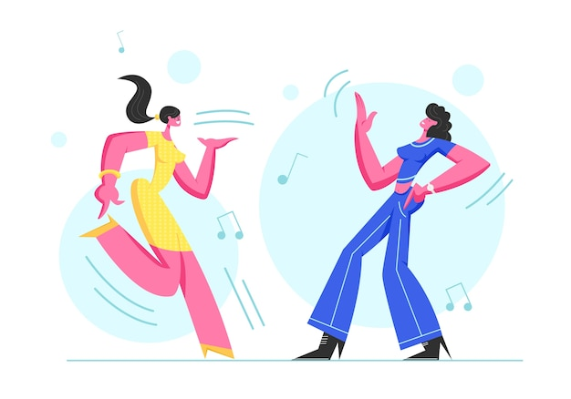 Paar opgewonden jonge meisjes dansen in disco party.