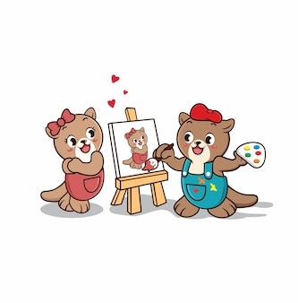 Paar otter schattige cartoon karakter schilderij