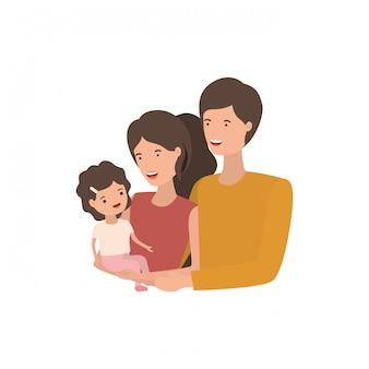 Paar ouders met dochteravatar charactar
