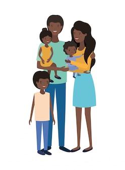 Paar ouders met kinderen avatar karakter